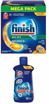 Finish Gelpacs Dishwasher Detergent with Rinse Aid